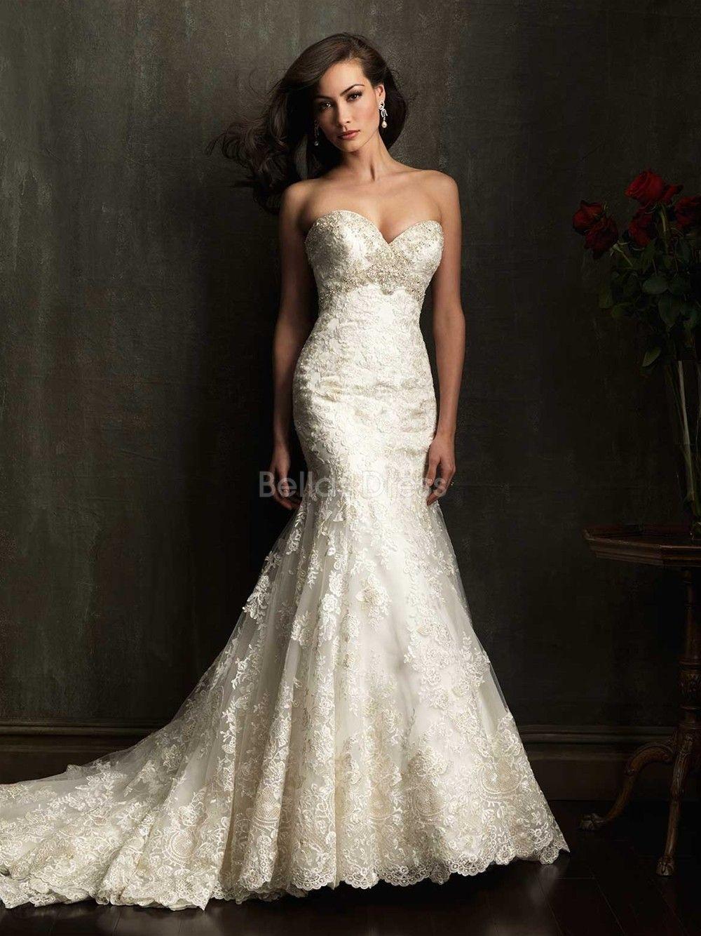 a80579fdb126 Elegant Mermaid Empire Waist Lace Sweetheart Floor Length Wedding Gowns