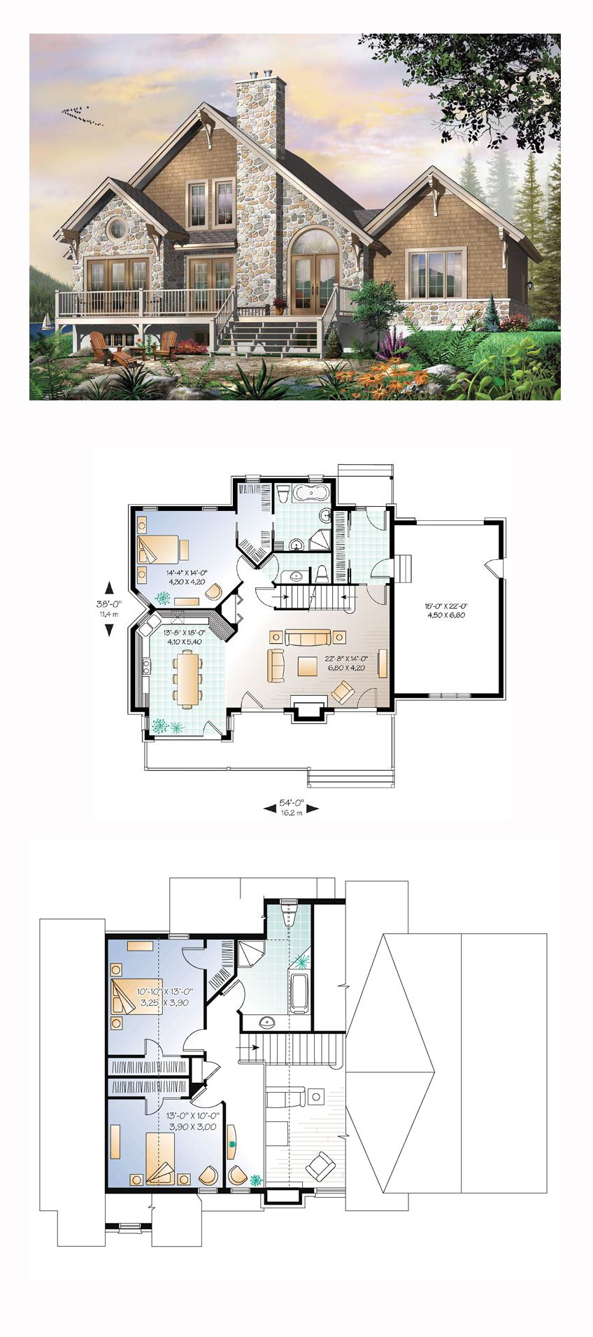 Traditional Style House Plan 64810 With 3 Bed 3 Bath 1 Car Garage House Plans Best House Plans Lakefront Homes