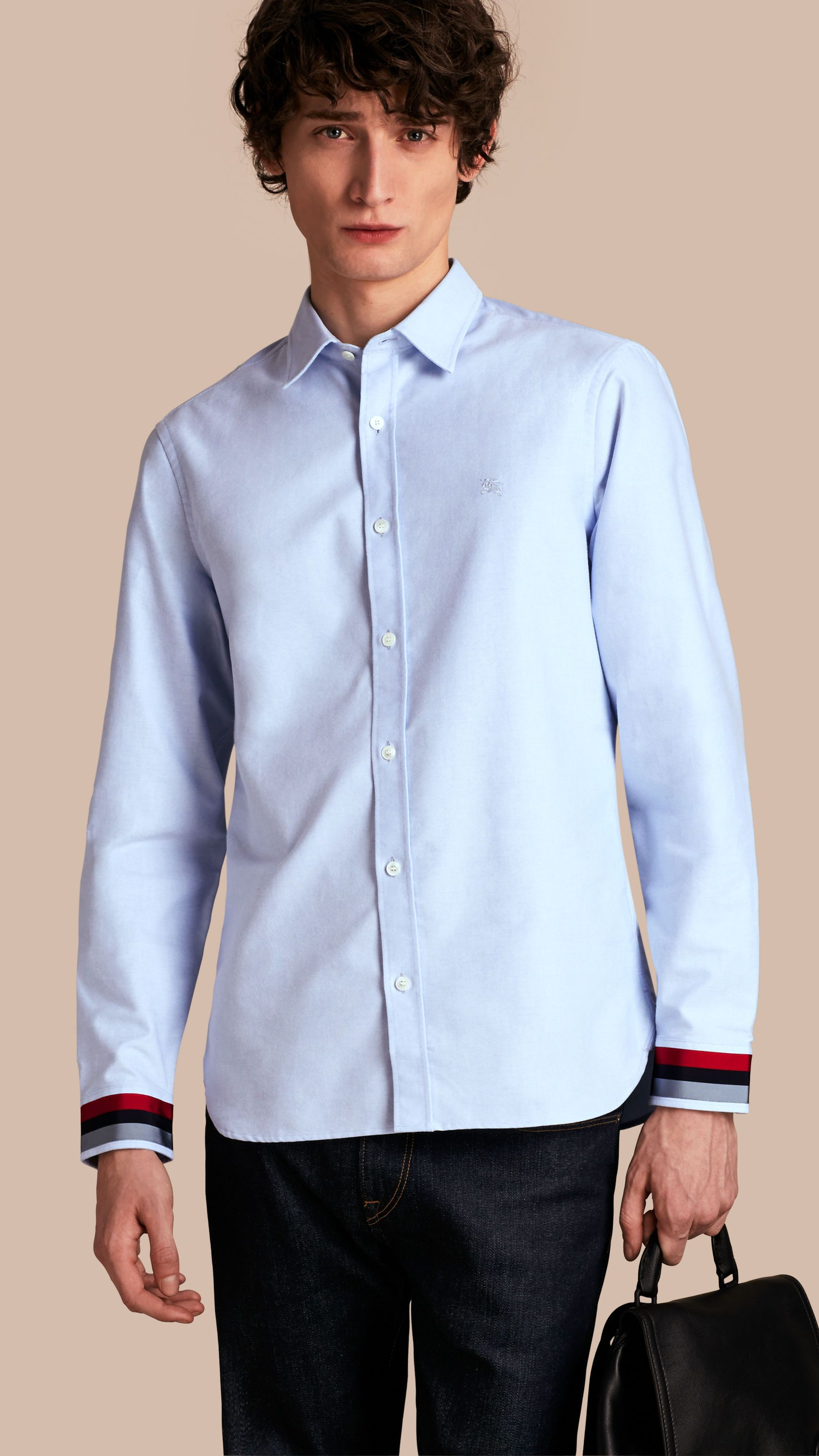 63f39ebbae12 Oxford Cotton Shirt with Regimental Cuff Detail Cornflower Blue | Burberry