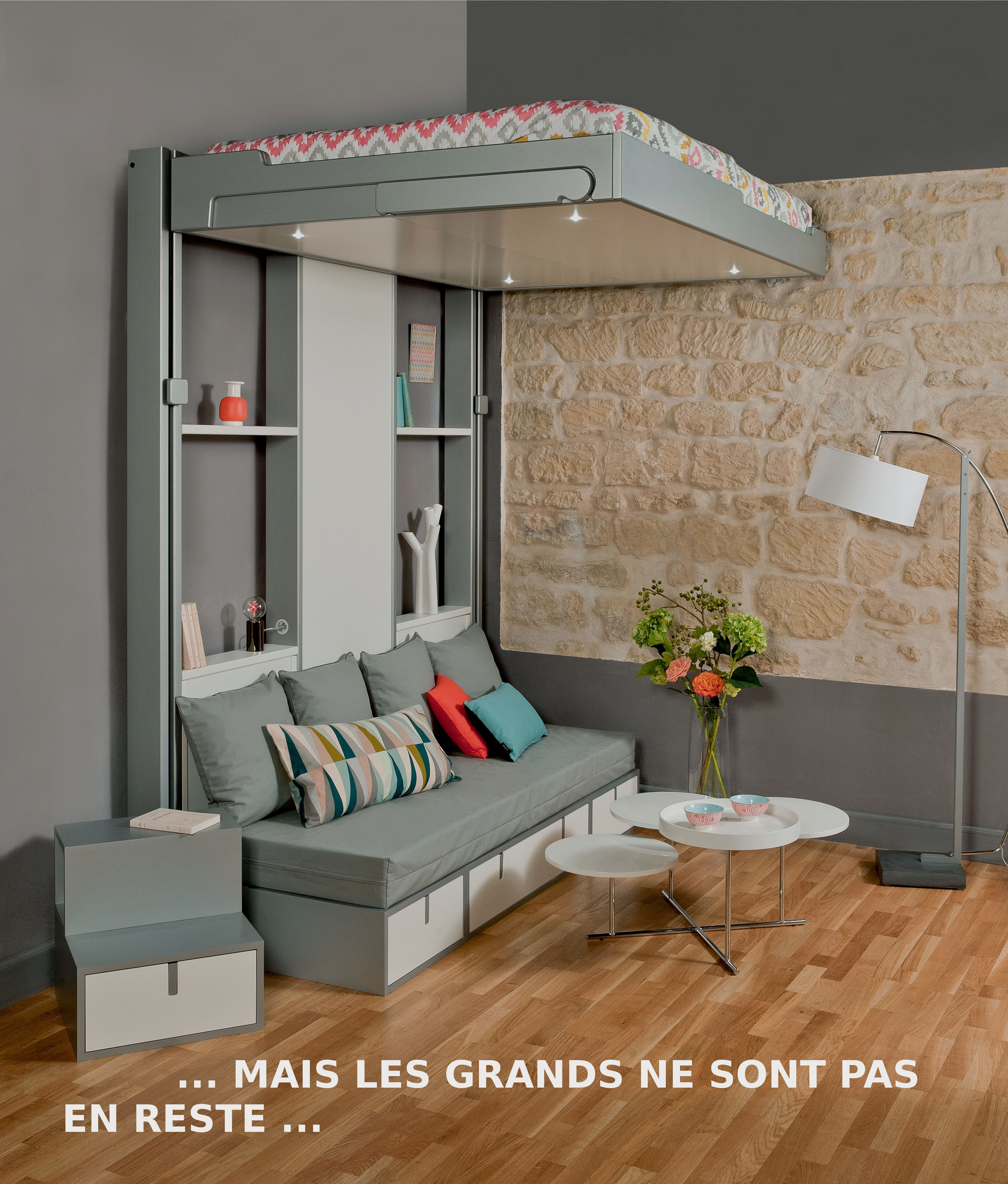 Slide for loft bed  Mobile bed and couch for a studioflat Lit escamotable et banquette
