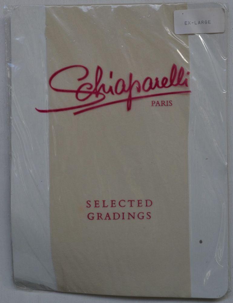 Vintage Ivory-White Schiaparelli Paris Nylon Pantyhose Size Ex Large S.Gradings