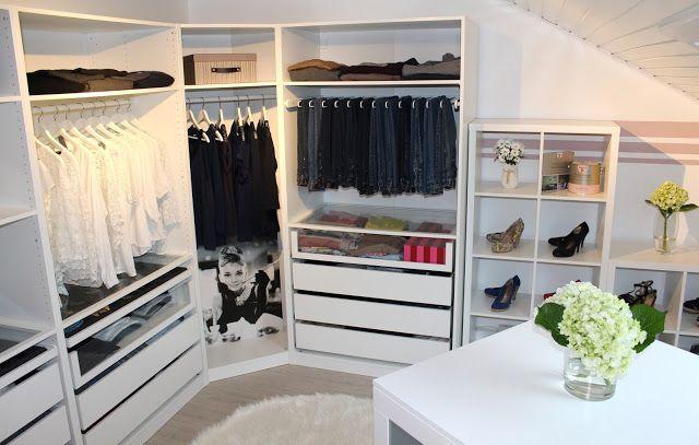 """Ankleidezimmer in """"Wolken in rosé"""" – Der Alpina Produkttest - Walk in closet - Mädchenzimmer Pax Ikea Ankleide gemütlich Dekoration Home Zuhause wohnen living Hortensien hydrangea Schuhe Schuhregal Klamotten begehbarer Kleiderschrank"""