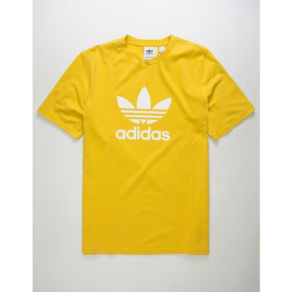 d022124f Adidas Trefoil Yellow T-Shirt ($35) ❤ liked on Polyvore featuring men's  fashion, men's clothing, men's shirts, men's t-shirts, adidas mens t shirt,  mens ...