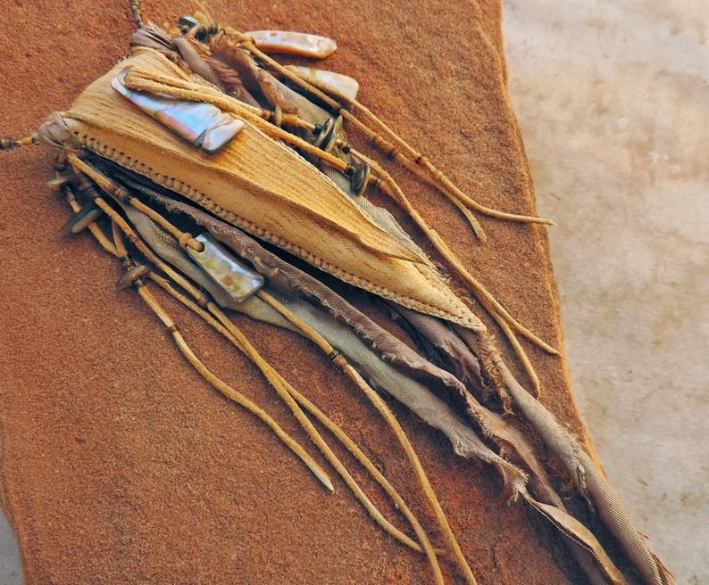 Photo of Handstitched Deer Leather Triangle Medicine Bag with Abalone Pendants, Sage & Cedar Fill, Abalone Beads, Glass and Shell Heishi, Silk Ribbon