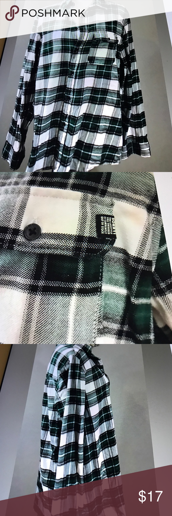 H&M Divided Plaid women's shirt medium new H&M women's Plaid shirt green and black medium shirt is oversized 30 inches long 19 across chest new without tags H&M Tops Button Down Shirts