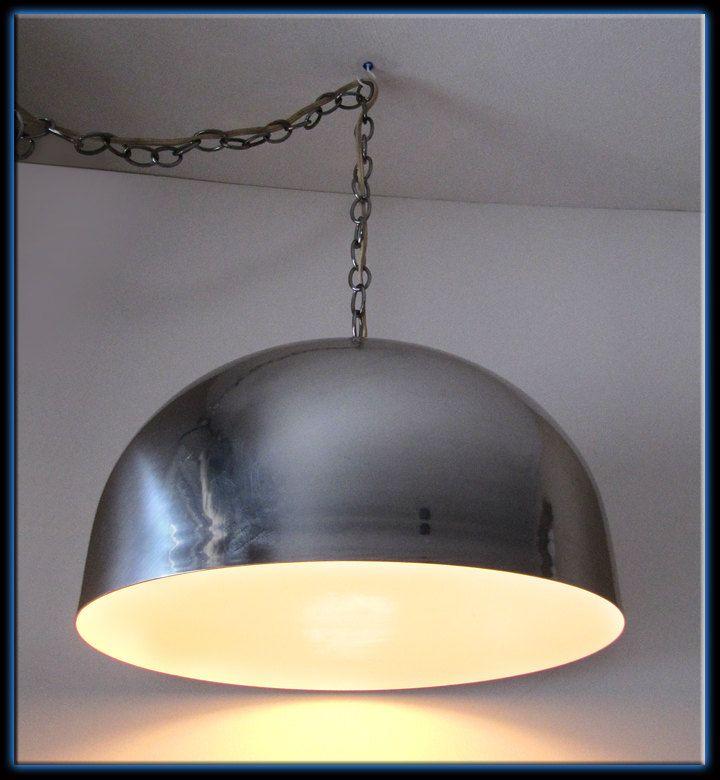 Vintage retro 60s large chrome aluminum dome ceiling light fixture swag lamp chandelier 199 95