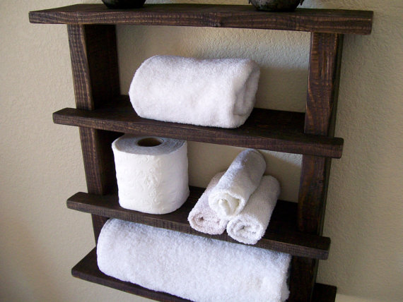Rustic Bathroom Shelves Towel Rack Wood Shelf Bathroom Shelf Rustic Wall Shelf Storage Organization Toilet Paper Holder Bathroom Storage