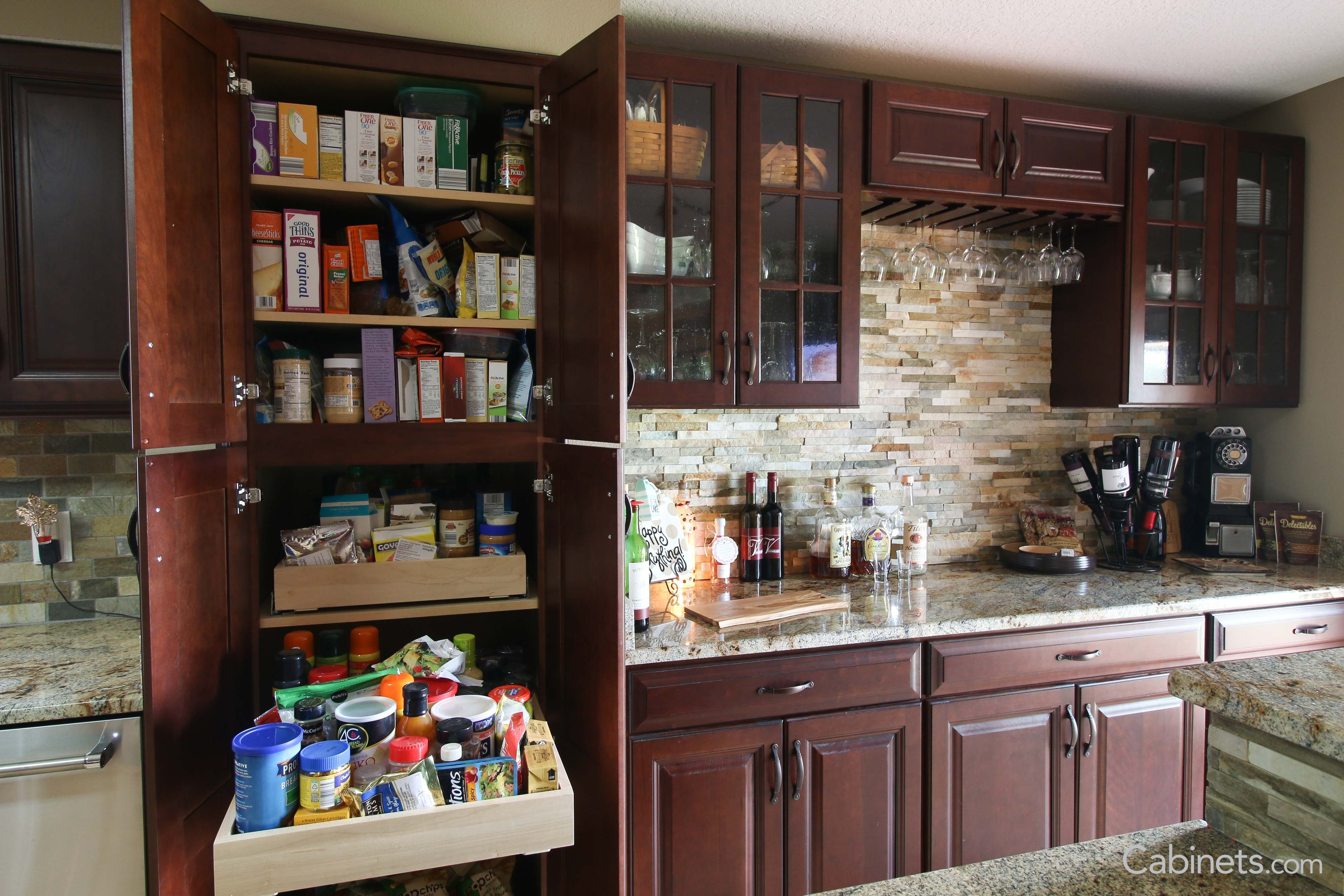 Pantry Featuring Our Jupiter Cherry Java Coffee Glaze Cabinets Pantry Makeover Discount Cabinets Kitchen Design