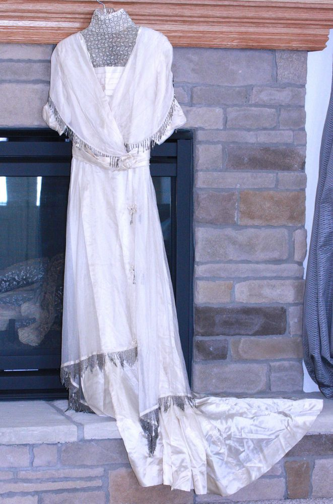 1913 TRAINED ECRU IVORY SILK EDWARDIAN GOWN BEADED NETTING HIGH COLLAR DRAPING #UNBRANDED