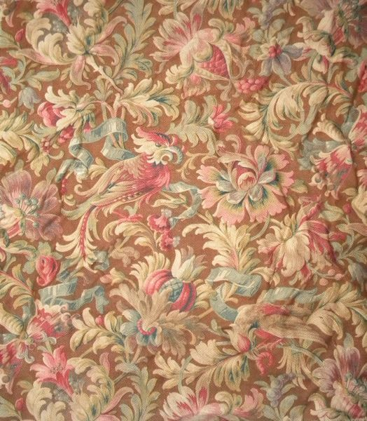 Here is a beautiful, small remnant of an antique French cotton curtain. It is much prettier than photos depict. With autumnal colors featuring an exotic