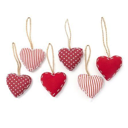Red Set of Six Fabric Heart Hangers | Dunelm