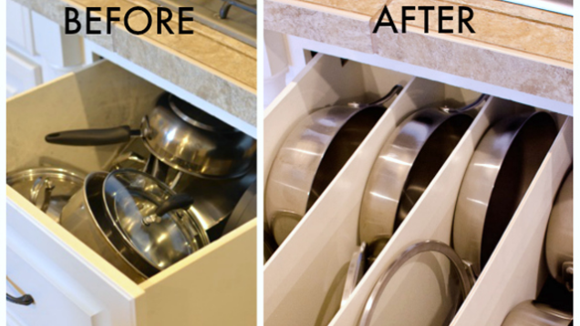 Organize Pots And Pans With DIY Drawer Panels