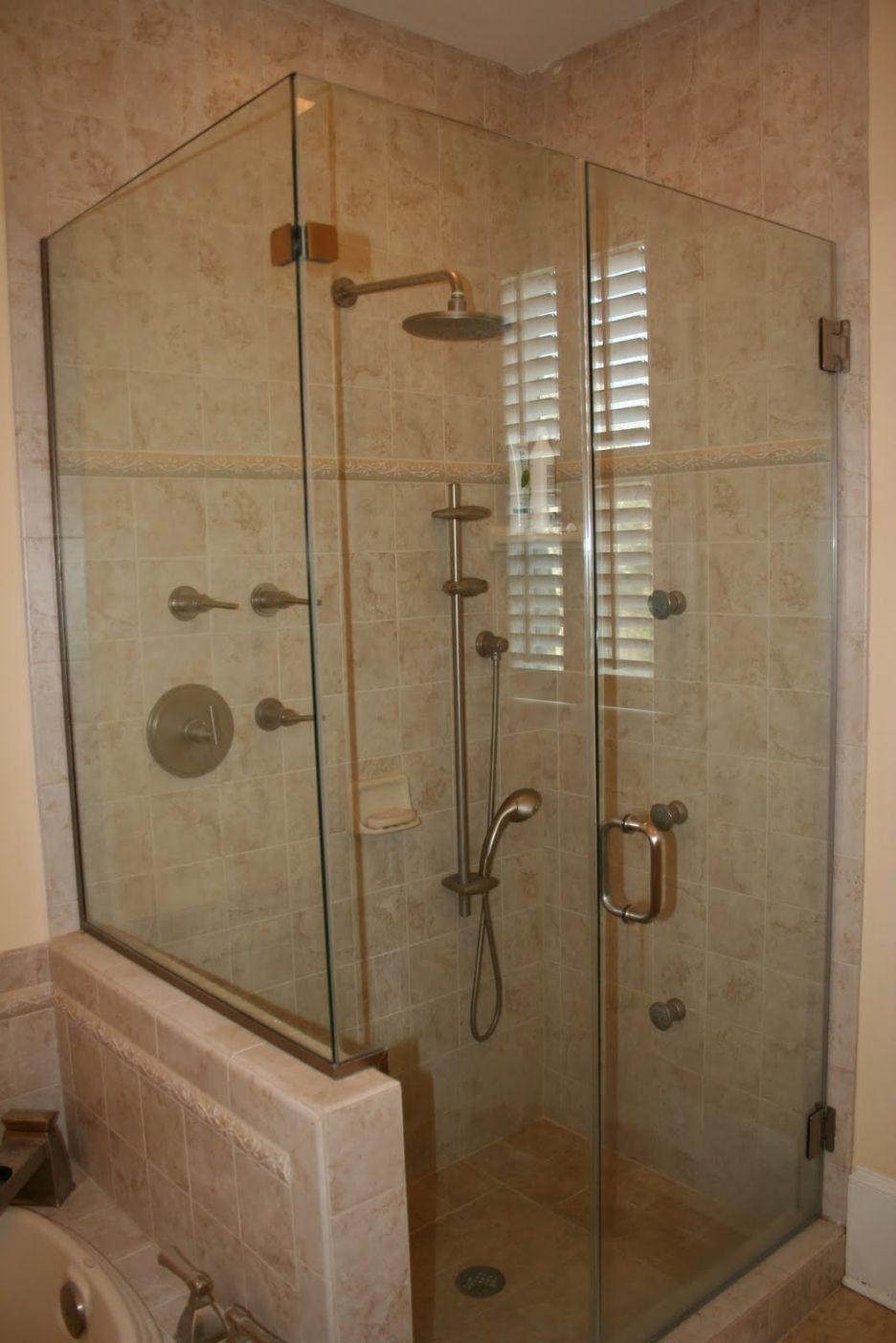 Bathroom, : Exquisite Frameless Glass Shower Door And Fixed Round ...