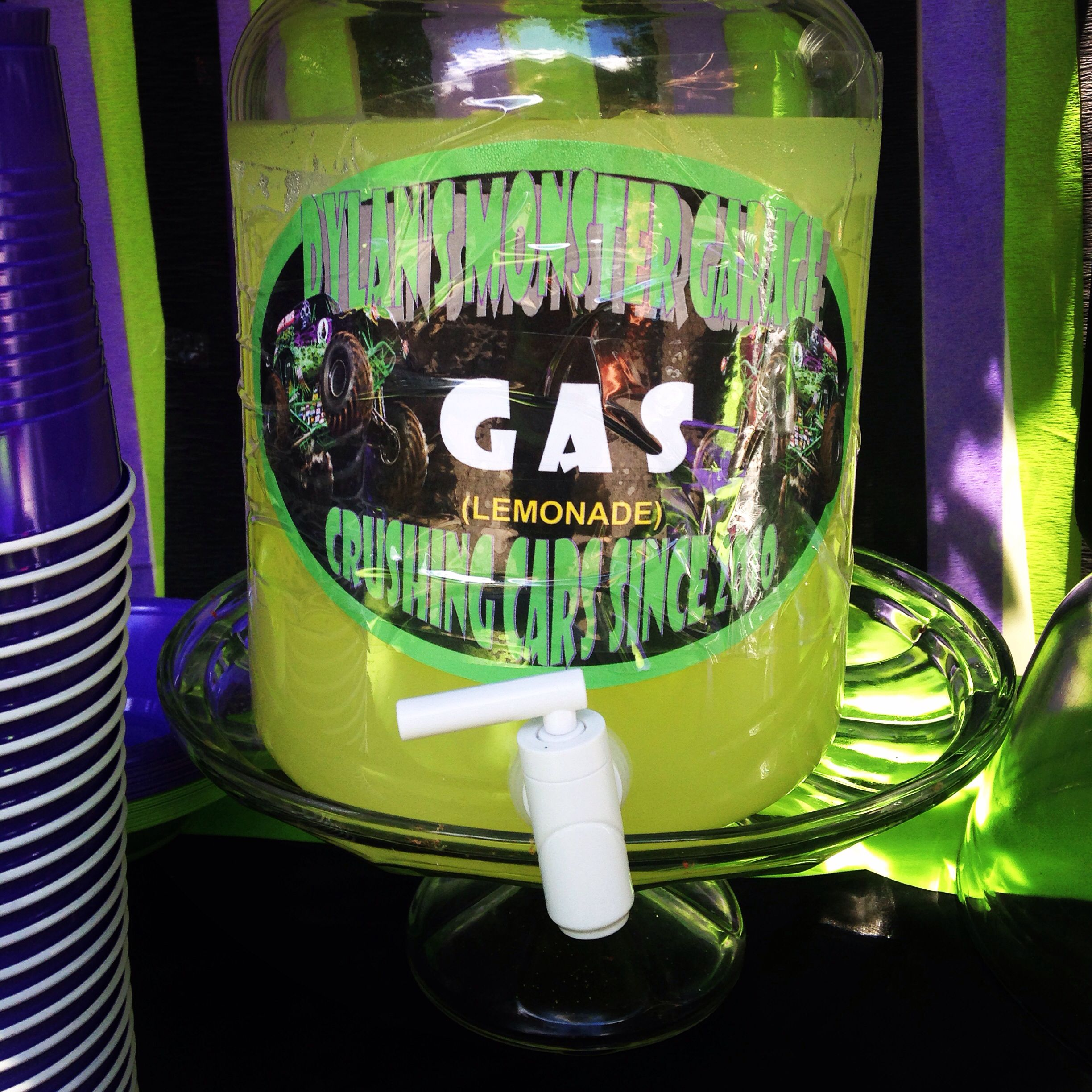 Gas (lemonade) monster truck party grave digger party