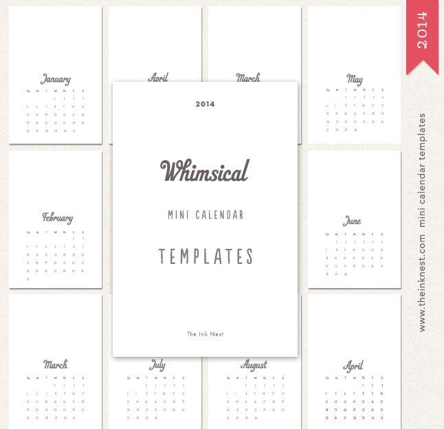 Mini Calendar 2014 Templates Doit Pinterest Calendar 2014