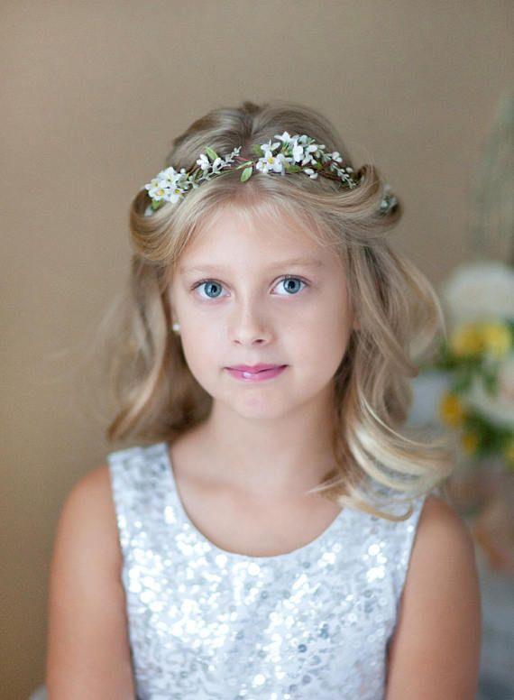 First communion flower crown, first communion headpiece