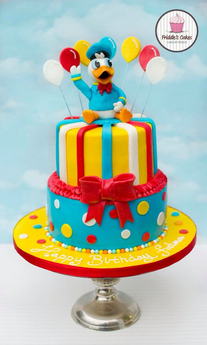 Donald Duck Two Tiered Birthday Cake Kanyon Is Turning 3