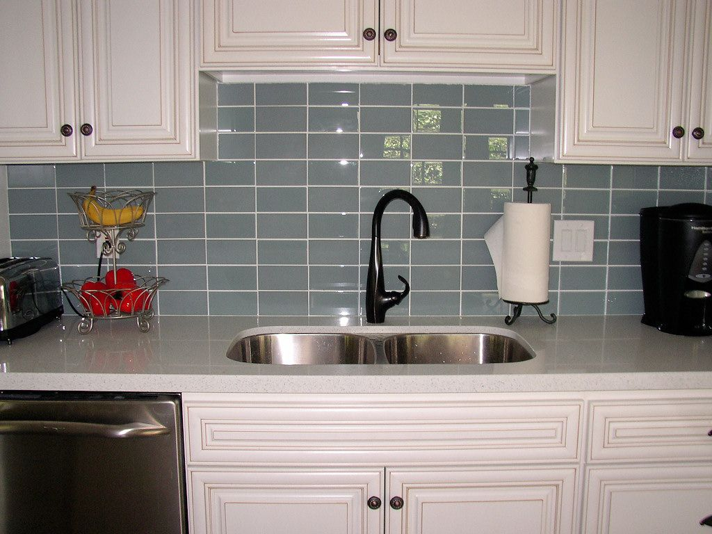 best backsplash for dark cabinets | sky blue glass subway tile