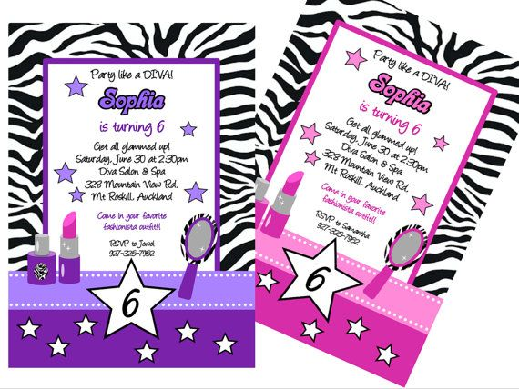 Diva Glam Spa Party purple zebra stripe pdf printable PERSONALIZED ...