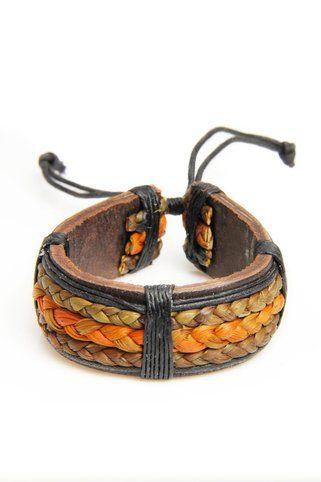 Saachi Leather Jute Braided Bracelet