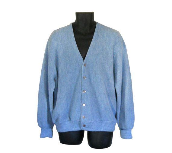Men Cardigan Sweater Grandpa Cardigan Preppy Cardigan Light Blue ...