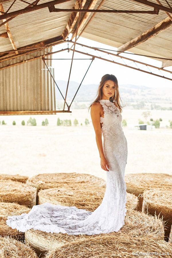 Grace Loves Lace Bridal 2015 Alexandra Sleeveless Halter Neck Wedding Dress Fishtail Train Side View