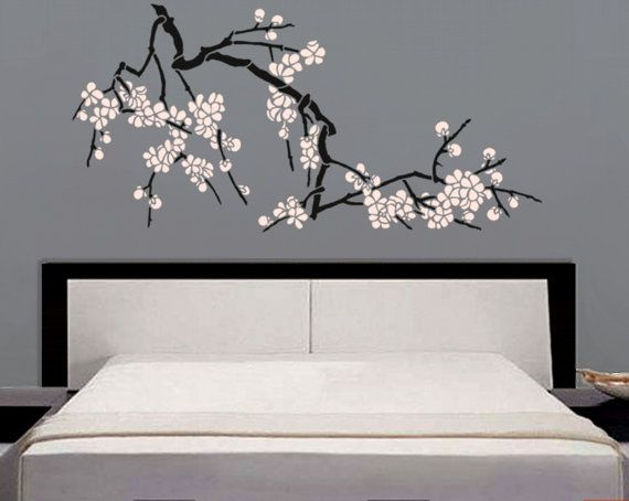 stencil japanese cherry blossoms large branch stencil for walls diy home decor deco. Black Bedroom Furniture Sets. Home Design Ideas
