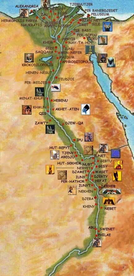 Ancient Egypt Map With Real Egyptian Names Of Their Cities Altes