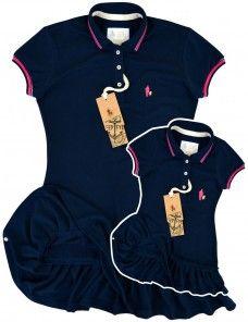 ecc3791ac8 Kit Vestido Polo Mãe e Filha Iguais (Azul Marinho)