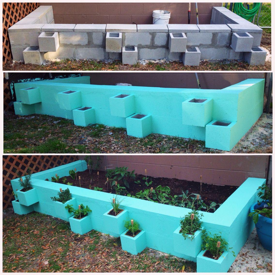 Diy cinder block raised vegetable garden bed separate herbs from vegetables in off set cinder for Painting cinder blocks for garden