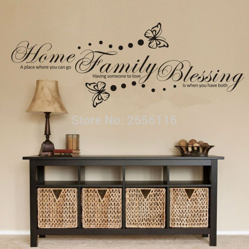 Decorative Letter Home Sayings Wall Sticker Butterfly Vinyl ...