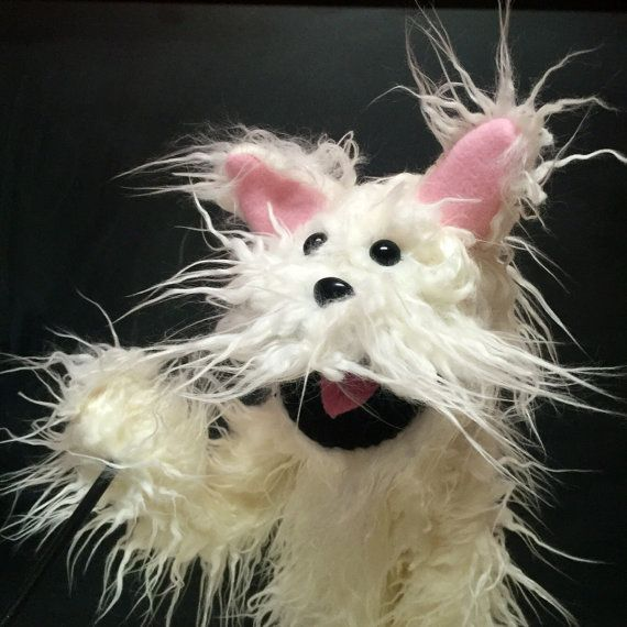 omg, he is so CUTE!!!White Scruffy Puppy Dog Puppet by PuppetPieShop on Etsy
