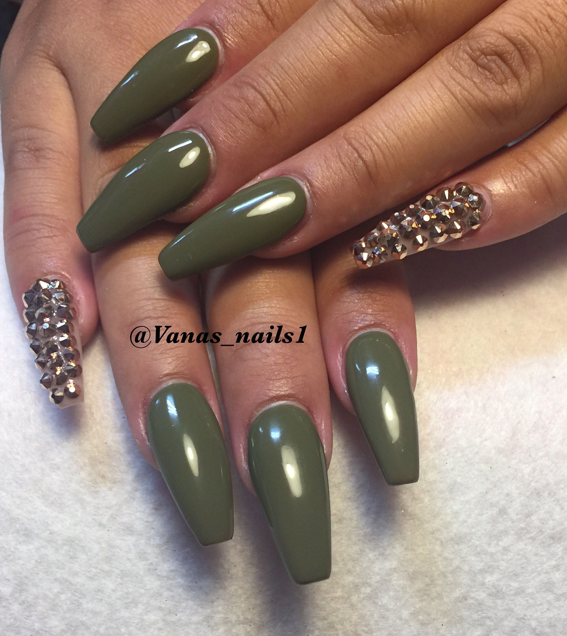Olive green nail design