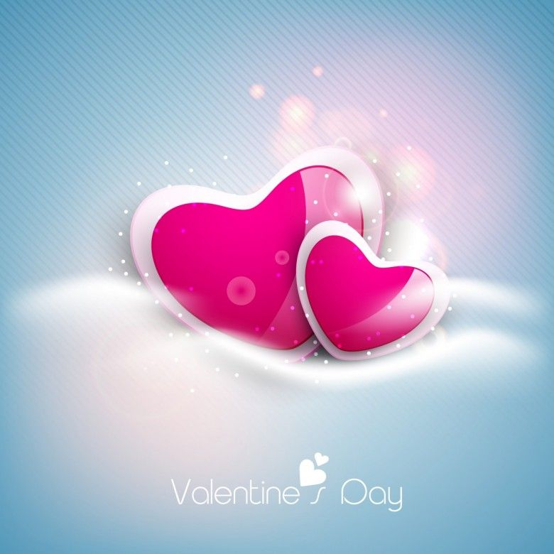 Glossy pink hearts on shiny blue Valentines Day background 780x780 ...