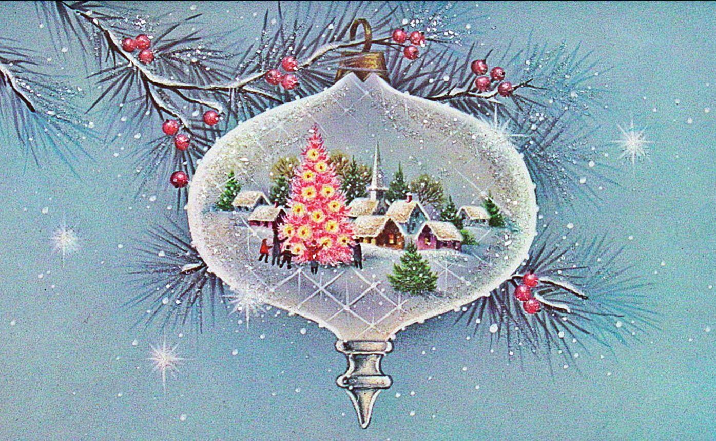 Christmas ornament scene.