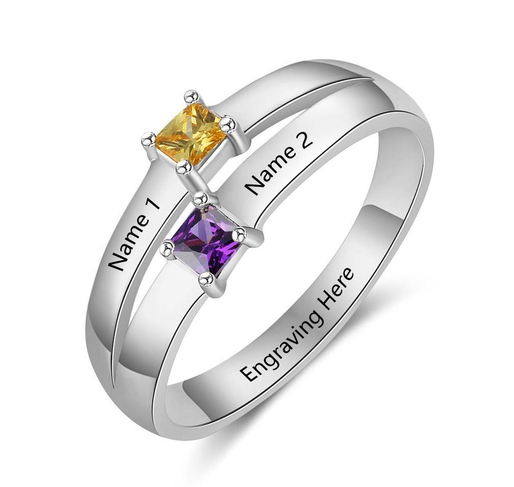 a65e34089 Personalized 2 Birthstone Ring With 2 Engraved Names Ring Engagement, Silver  Engagement Rings, Silver