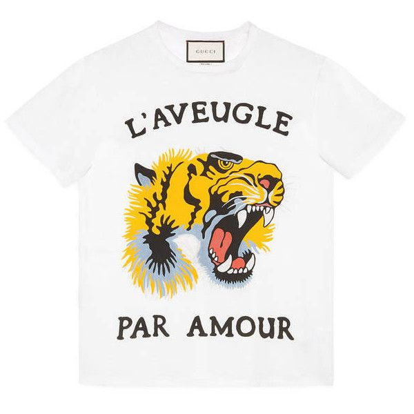 fe35109c9 Gucci Tiger Print Cotton T-Shirt ($400) ❤ liked on Polyvore featuring tops,  t-shirts, clothing - ss tops, ivory, white crew neck t shirt, white top, ...