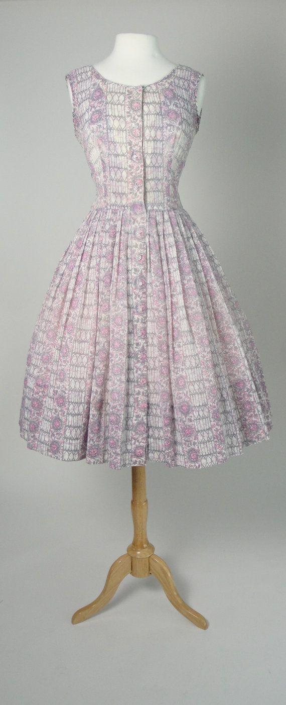 Vintage 1950s 50s Day Dress with Full Skirt by littlestarsvintage, $68.00