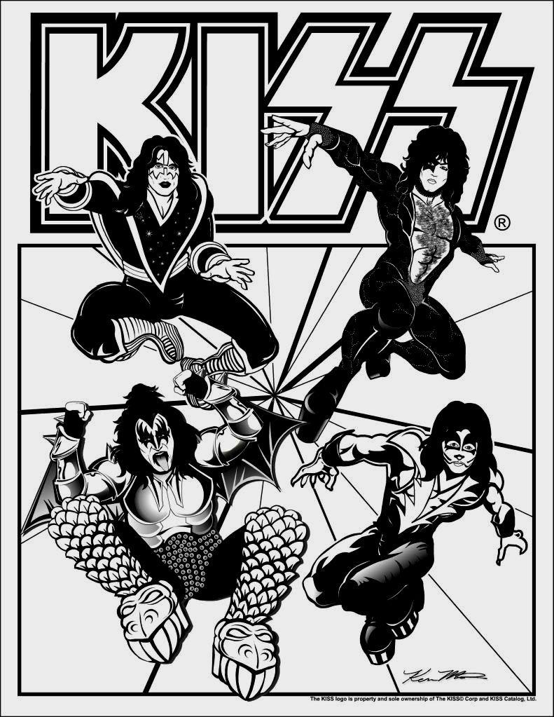 Kiss Band Coloring Pages   Kiss rock bands, Kiss band party