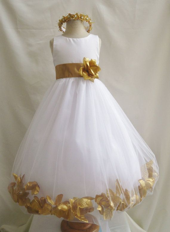 1a5b19f78da Flower Girl Dress WHITE w  Gold PETAL Wedding by LuuniKids on Etsy ...