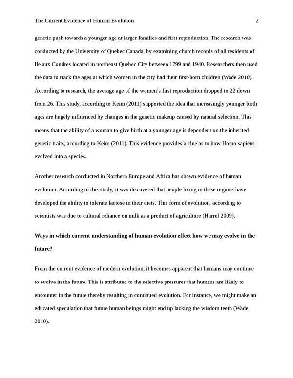 Evolution essay topics