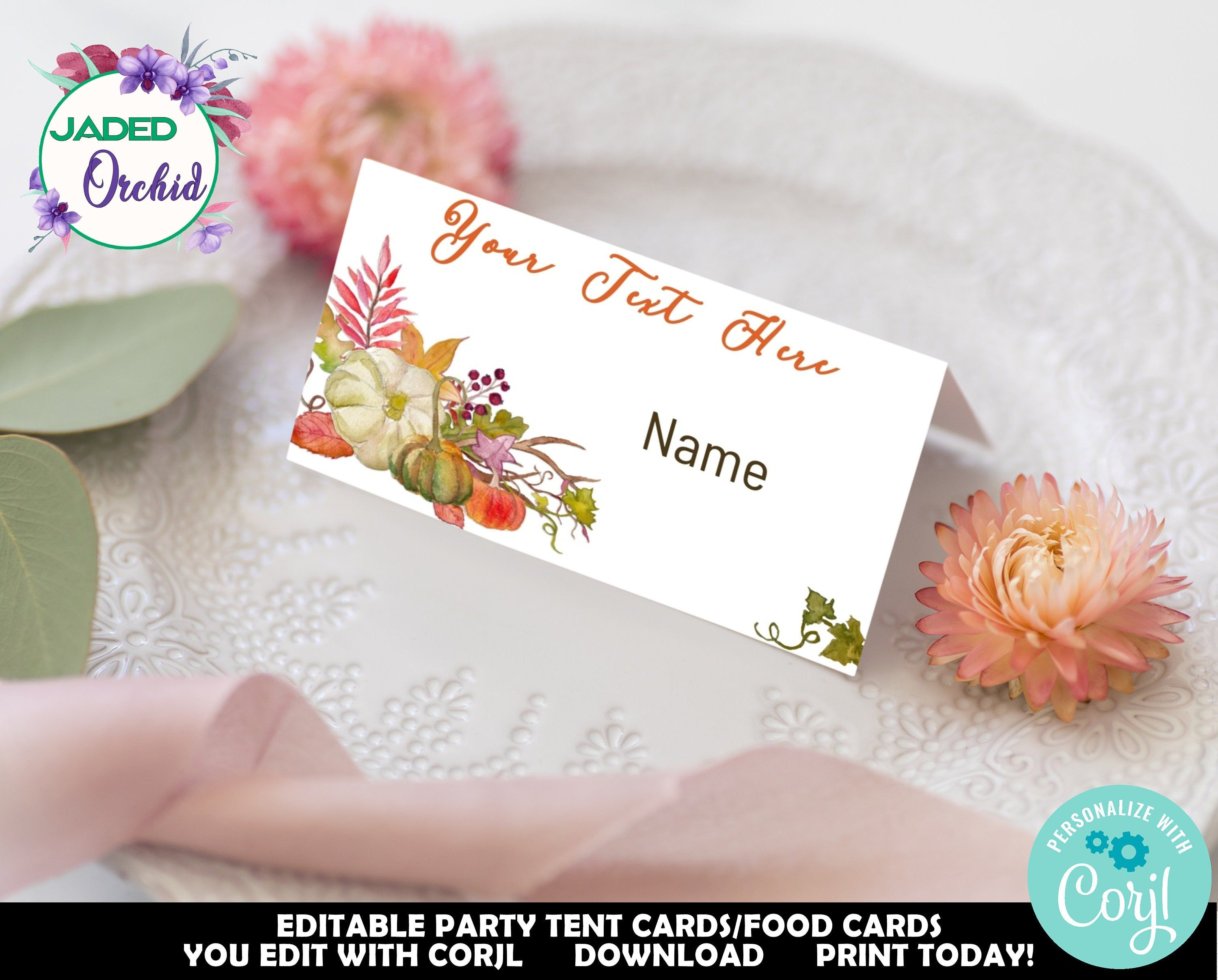Edit Fall Place Cards Place Card Template Fall Tented Place Card Thanksgiving Place Card Than Thanksgiving Place Cards Place Card Template Fall Place Cards