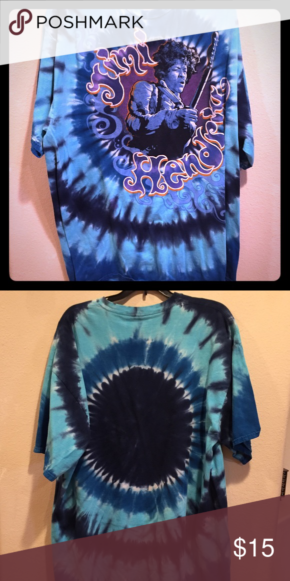 Jimi Hendrix Blue Tie Dye Short Sleeve Tee Shirt Men's shirt in great condition. Bundle 3+ items and get 20% off! Shirts Tees - Short Sleeve