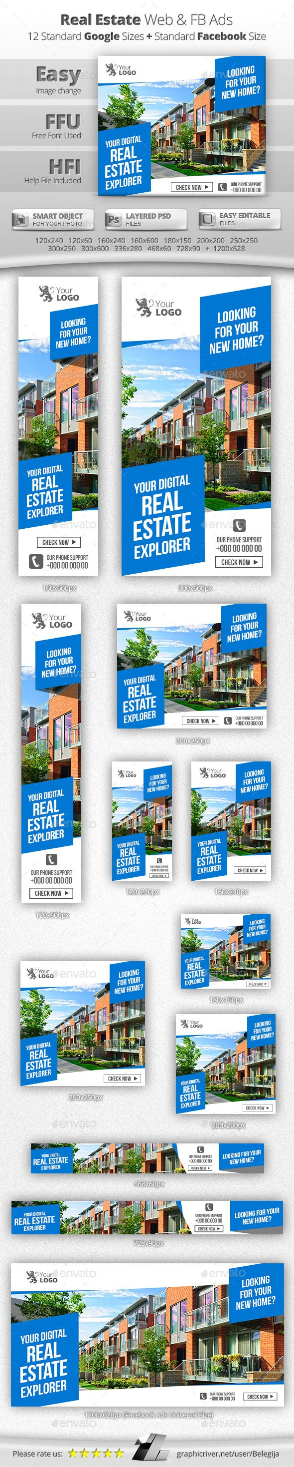 real estate property banner ads design banner design and photoshop real estate web facebook banners