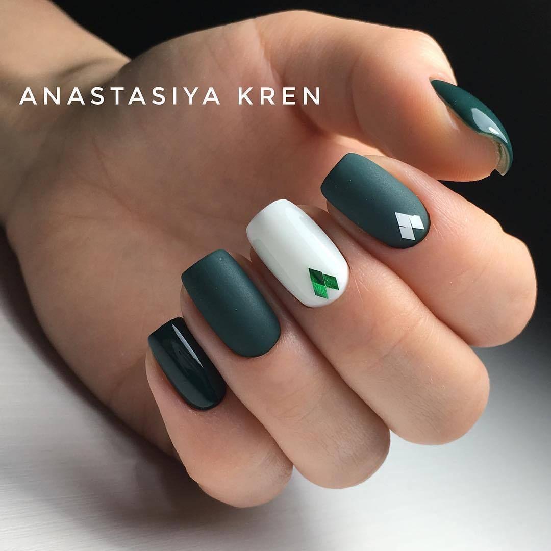Nail Art #4014 - Best Nail Art Designs Gallery | Dark green nails ...