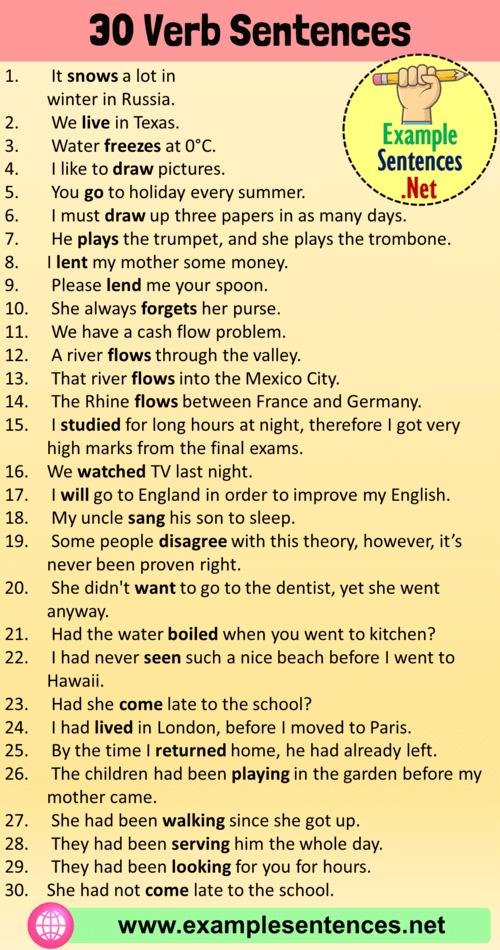 30 Verb Sentences Verb Examples In Sentences Example Sentences Verb Examples Verb Examples In Sentences Sentence Examples