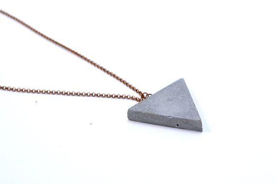 Unique concrete triangle necklace...perfect minimalist style : )