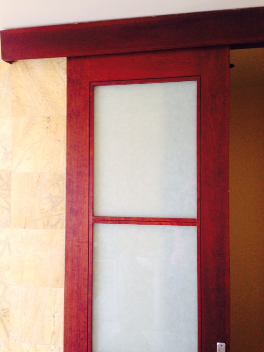 Instead of a traditional door that takes up space. And the work of a pocket door. This is perfect