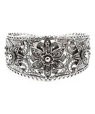 Another great find on #zulily! Sterling Silver Filigree Floral Cuff #zulilyfinds