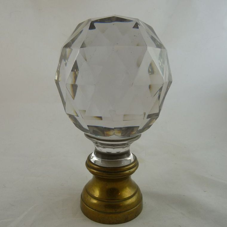 High Quality Antique Faceted Glass Newel Post Finial